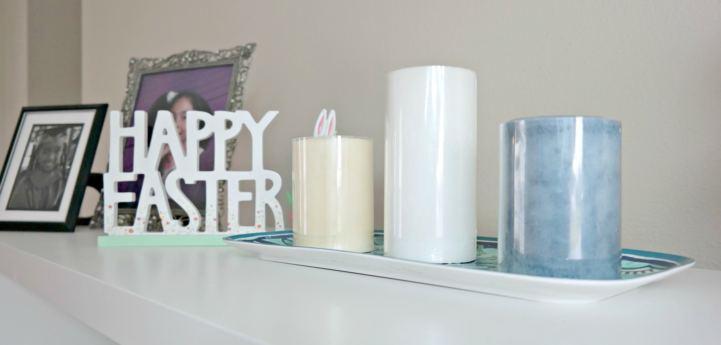 Candles and Easter sign for table or entertainment center.