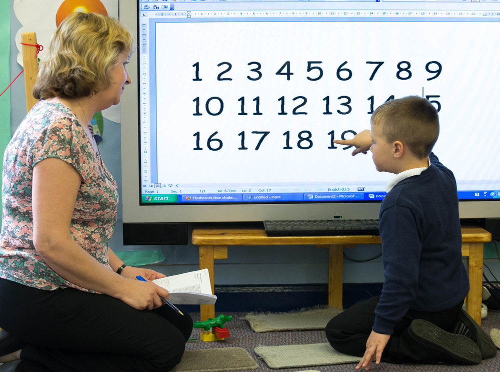 Teacher and child learning to count