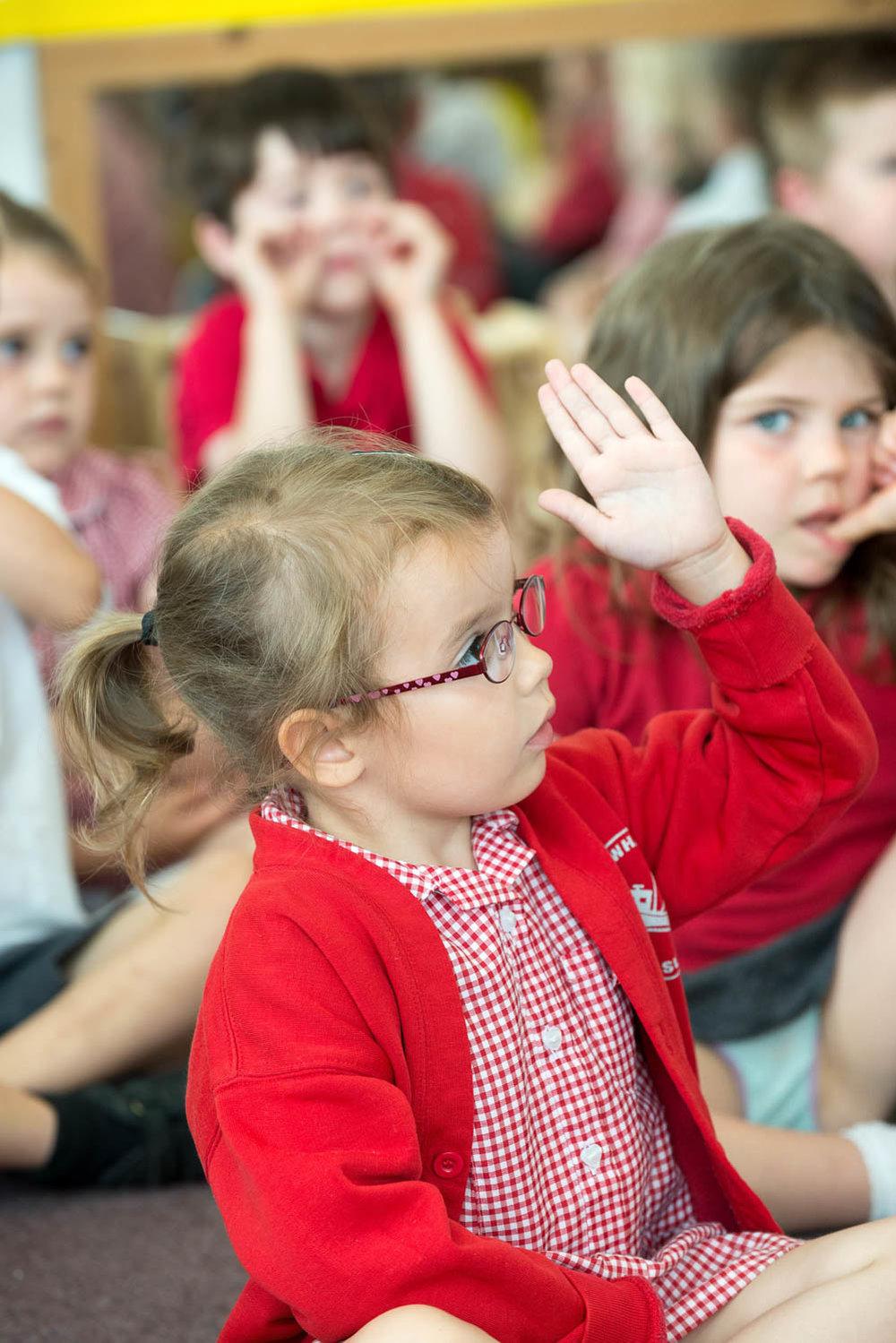 Primary school children in classroom