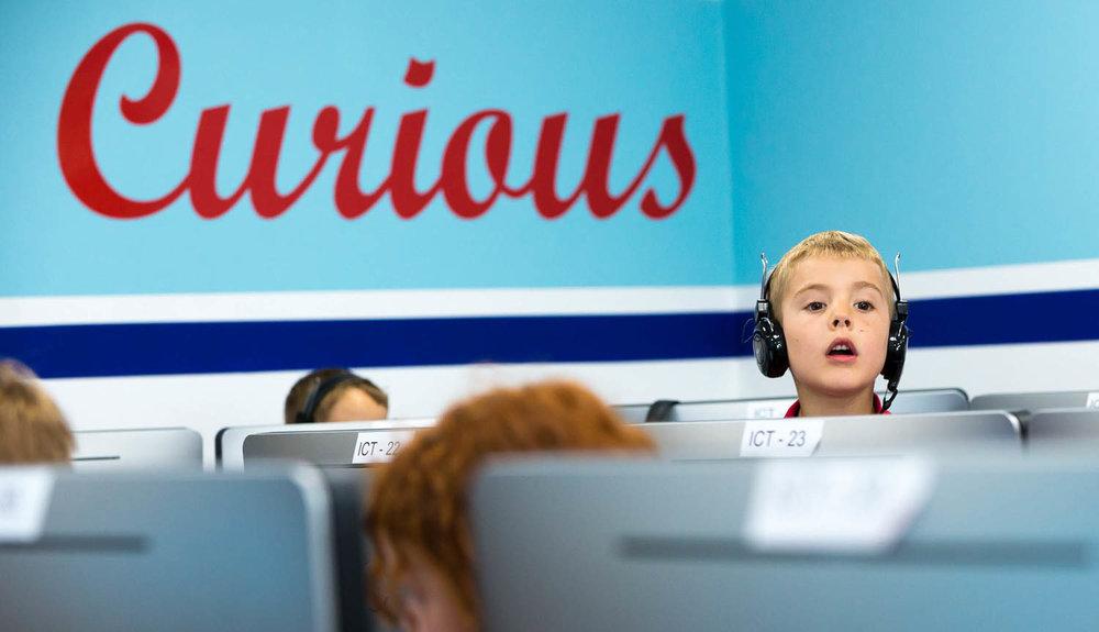Boy in ICT class