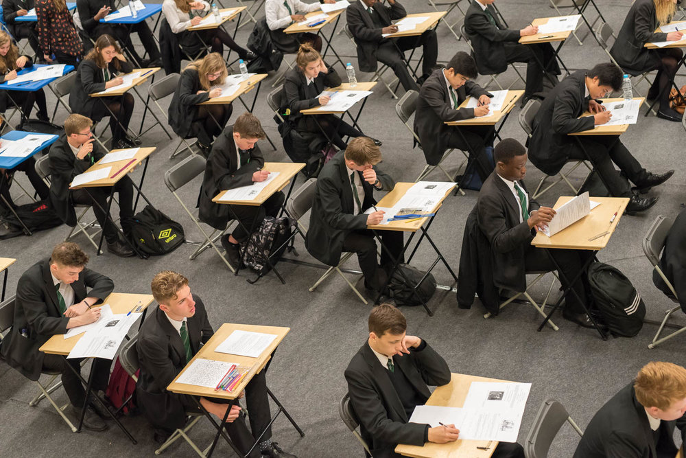 Exam desks and students