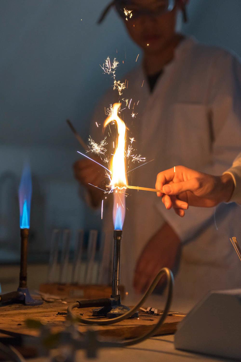 Bunsen burner and sparks