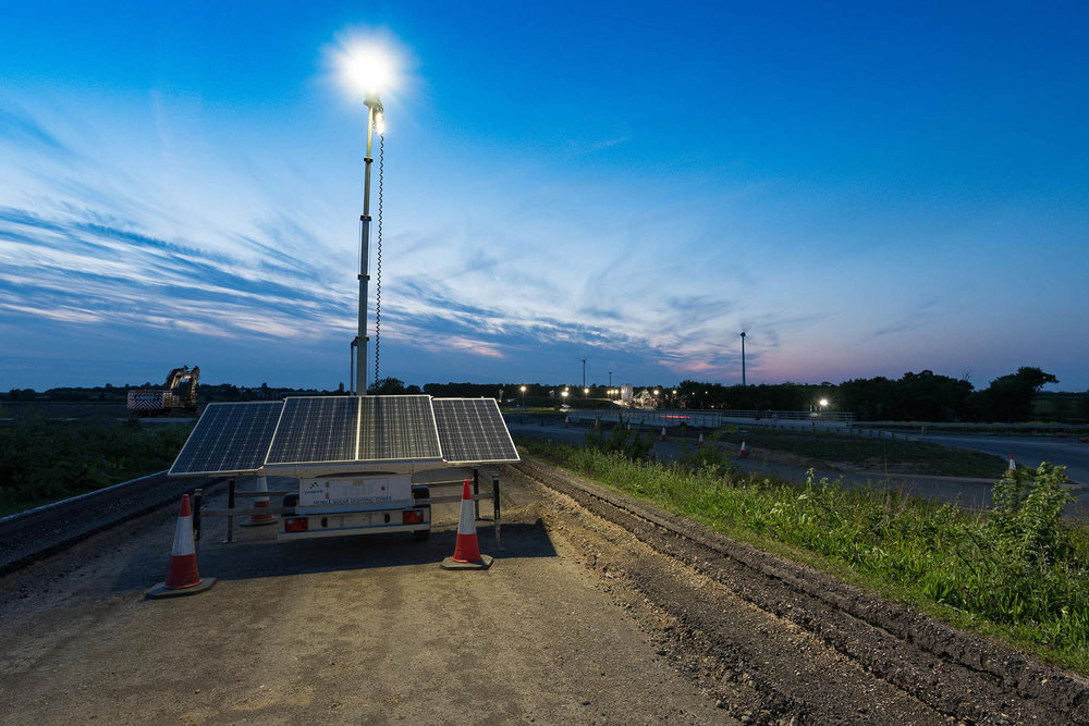 Prolectric Solar Lighting at the A14 construction site.