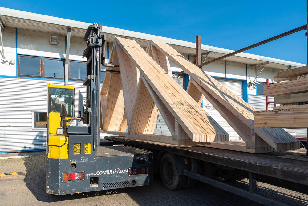 Fork lift and roof trusses at David Smith St Ives