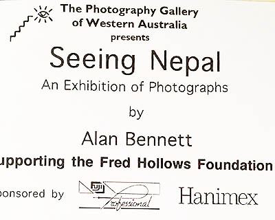 Seeing Nepal at The Photography Gallery of Western Australia, 1996