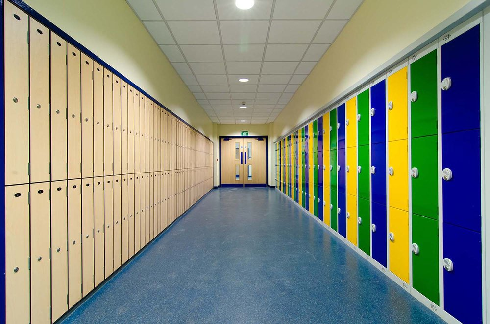 School corridor with lockers