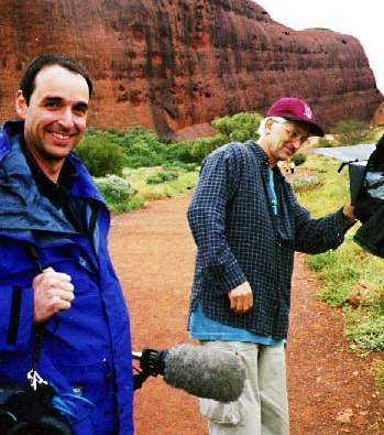 Filming on location at Uluru (formerly Ayers Rock)