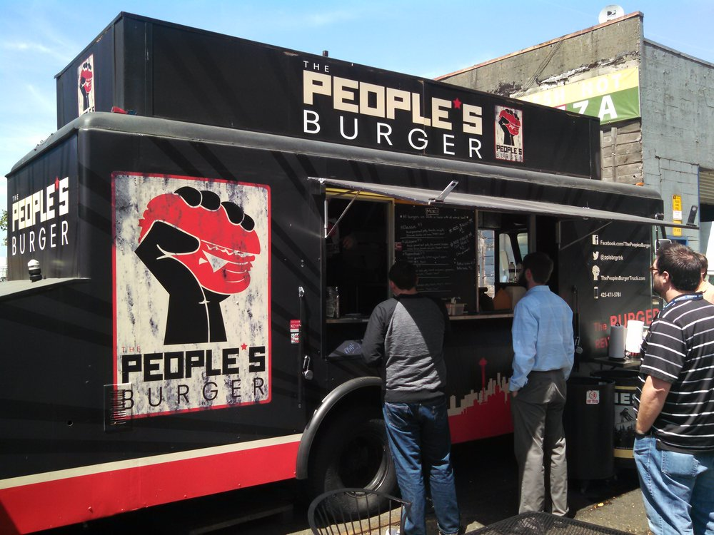 The People's Burger - Hand made burgers, fries, & moreFind on FacebookTwitter: @pplsbrgrtrkPhone: 425-471-5781Available for cateringAlso serves in Ballard, Bellevue & Woodinville