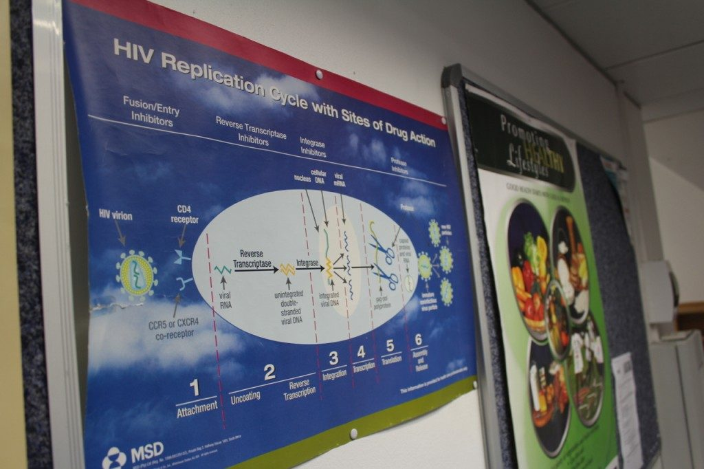 At the Medical Research Council in Verulam, South Africa, a poster describes the way HIV drugs work.