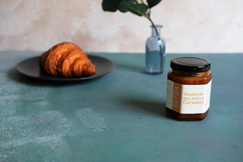 Our French-style sea-salted caramel goes well with croissant