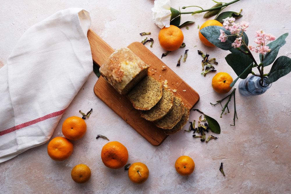 Freshly baked from mandarin oranges and earl grey tea