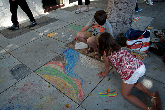 Children's Chalk Art Area on Vallejo Street between Grant Avenue and Columbus Avenue. Photo Credit SF Weekly