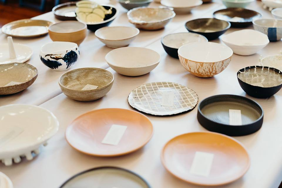 Beautiful ceramic bowls at the event. 2019.