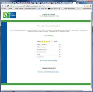 Holiday Inn Survey Score