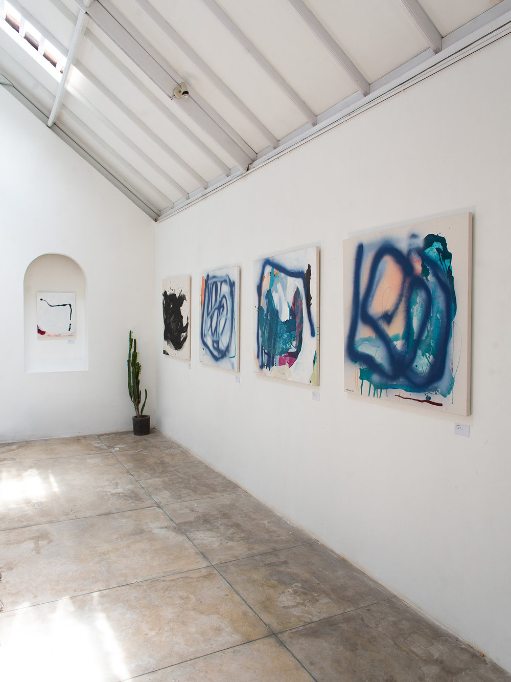 Abstract paintings by Ordo Amoris during exhibition called wu-wei in Ubud, Bali
