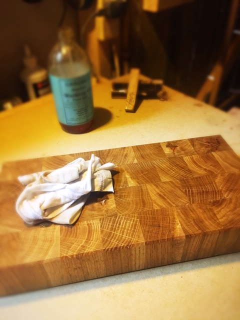 A custom made end grain chopping board. Handmade for a gentleman, who is small on space but big on style.