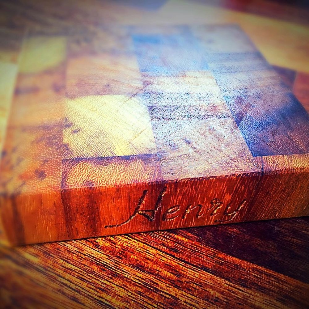Henry's parents, requested a custom made small end grain chopping board, handmade and engraved for his toy kitchen. This will last him a lifetime and he'll be able to pass it on to his own children in years to come.
