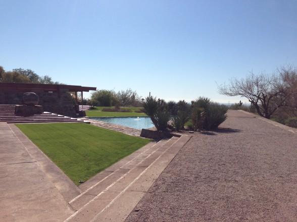A hidden water feature in the sunken garden creates an oasis of blue in the centre of the desert landscape.
