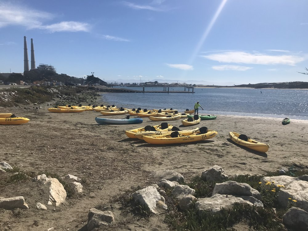 Kayaks on the beach at Moss Landing, CA