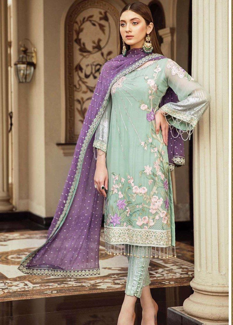 d914a15640 Original Afrozeh Embroidered Chiffon Unstitched 3 Piece Suit IRISH MINT -  Luxury Collection Pakistani Designers