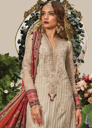 d43be5125e Original Maria B Embroidered Chiffon Unstitched 3 Piece Suit Eid Collection  Pakistani Designer ...