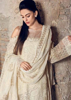 685af2272f Gul Ahmed Embroidered Jacquard Unstitched 3 Piece Suit 19E FE-227 - Eid  Collection ...
