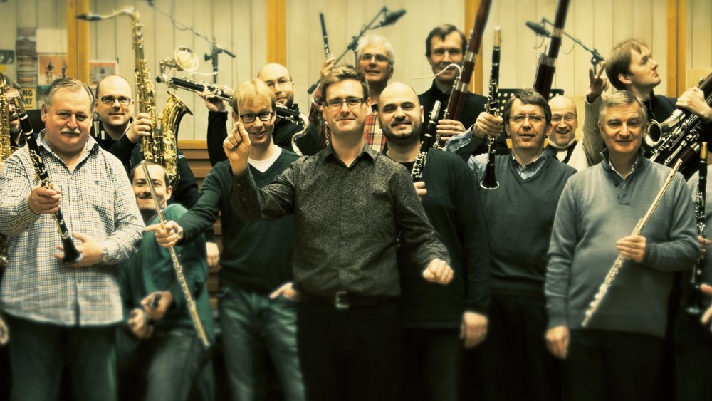 Shea Lolin with the woodwind section of the Czech Philharmonic, March 2014