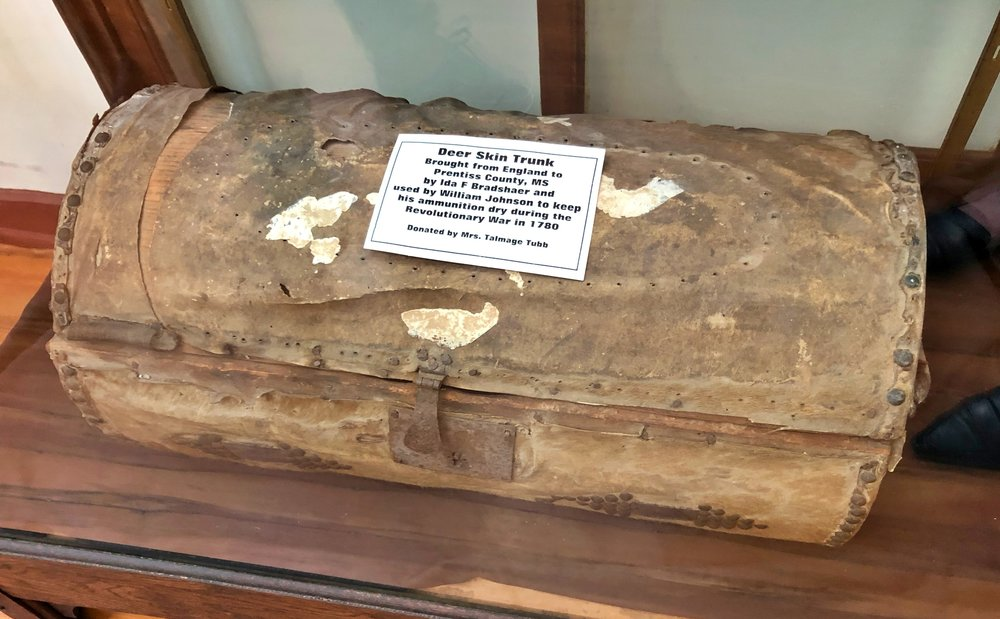 Deerskin trunk from England, used in the colonies during Revolutionary War