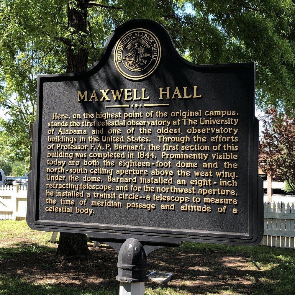 Maxwell Hall Marker Front, Univ of AL … Photo by Caroline Pugh