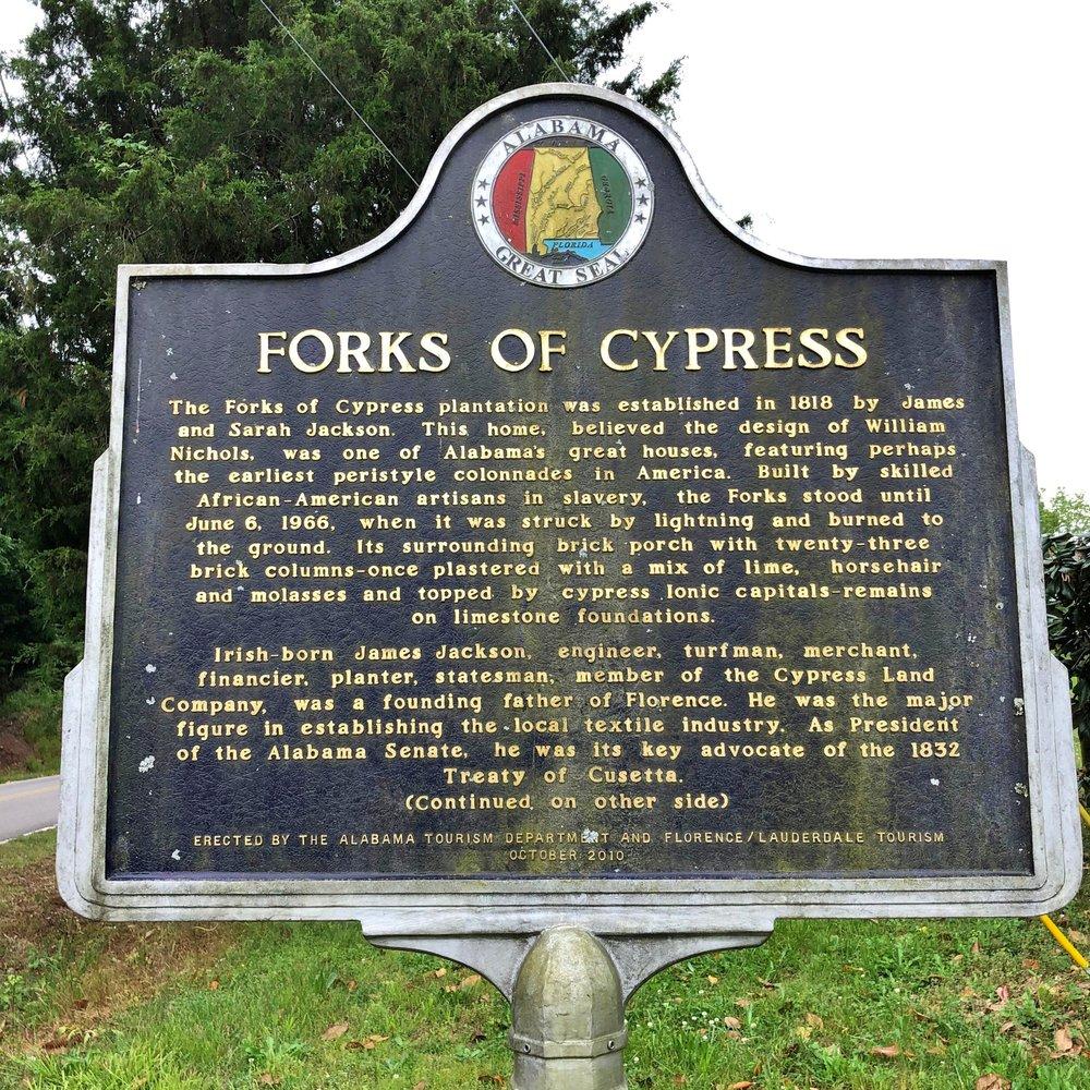 Forks of Cypress Marker, Side 1, Florence, AL.JPG