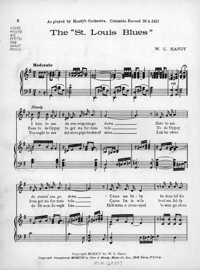 By W. C. Handy - from the Library of Congress, Brown University Collection of African American sheet music, Public Domain