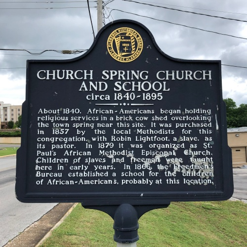 Church and Spring Church and School Marker, Florence, AL.JPG