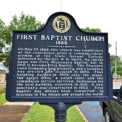 First Baptist Church Marker, Florence, AL.JPG