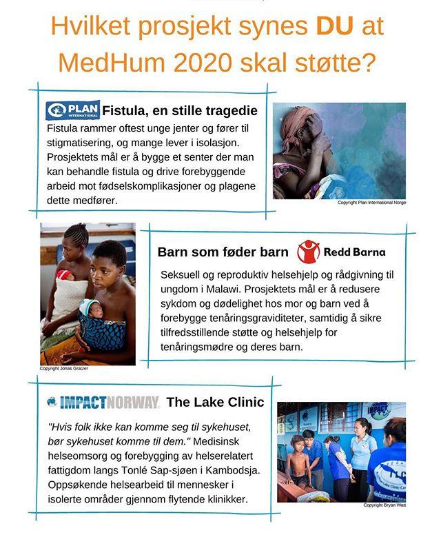 Folkens! Det er endelig tid for å velge prosjekt til #medhumaksjonen2020 🌟 Vi er stolte og glade over å kunne presentere tre utrolig sterke prosjektkandidater:  Fistula - en stille tragedie / PLAN.  Barn som føder barn / Redd Barna.  The Lake Clinic / Impact Norway.  Nå er det opp til dere, kjære Nmf-medlemmer! Følg linken i bio, og stem på prosjektet DU ønsker skal bli støtteprosjekt for MedHum 2020 🌟🧡 #medhumaksjonen #medhum2020