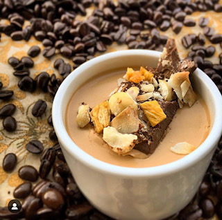 Coffee Panna Cotta with Hawaiian Chocolate Bark - Carta Coffee Merchants asked us to develop three dessert recipes using their coffee for an intimate evening soiree. As a surprise, we also made our very own chocolate bark for the guests' swag bags.