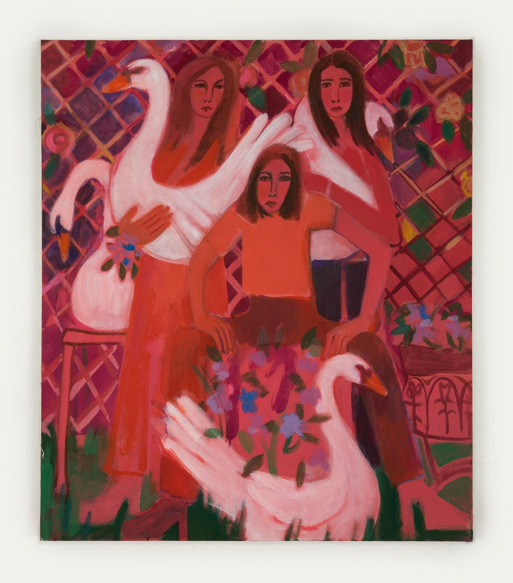 Garden Swans,  distemper on canvas, 40 in. x 34.5 in., 2018-19