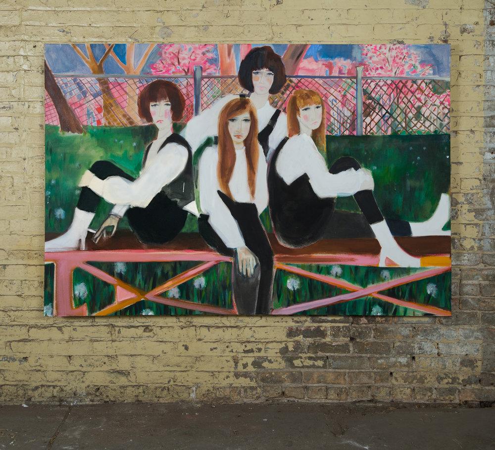 Run-run Ditty, Boom-boom (Mary, Marge, & Mary Ann circa 1975), distemper on canvas, 50 in. x 74 in., 2018