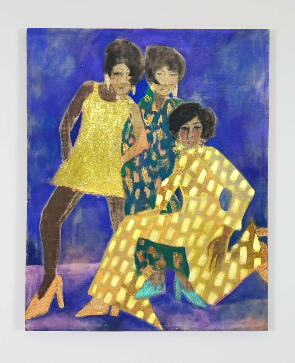 Three Graces (Diana, Mary, & Florence) , dye, acrylic, and glitter on linen, 50 in. x 42 in., 2017