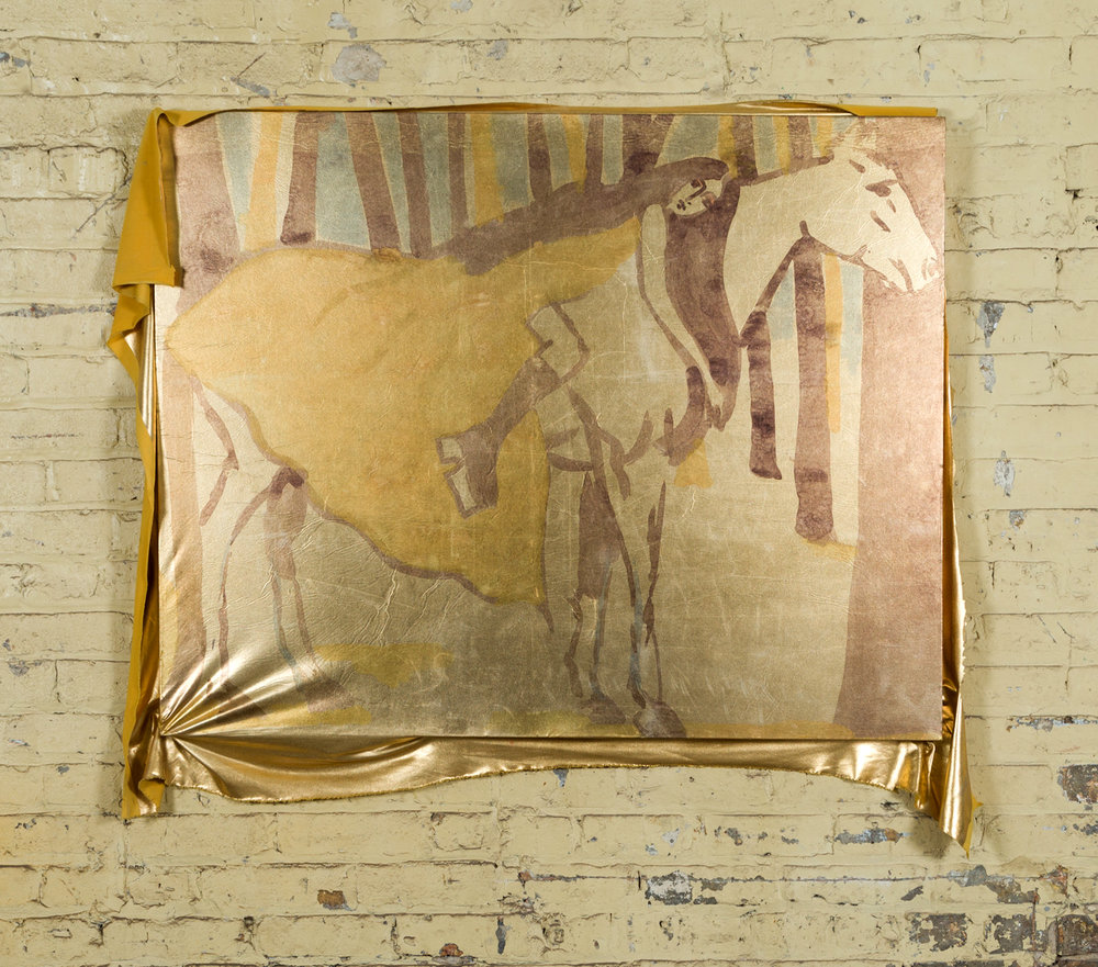 Cher on a Horse, circa 1975, dye transfer on metallic spandex, approx 36 in. x 44 in.2017