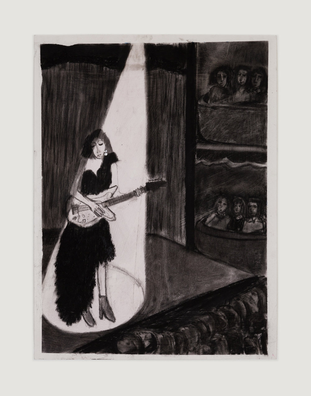 Girl with Guitar,  charcoal and sequins on paper, 24 in. x 18 in., 2018