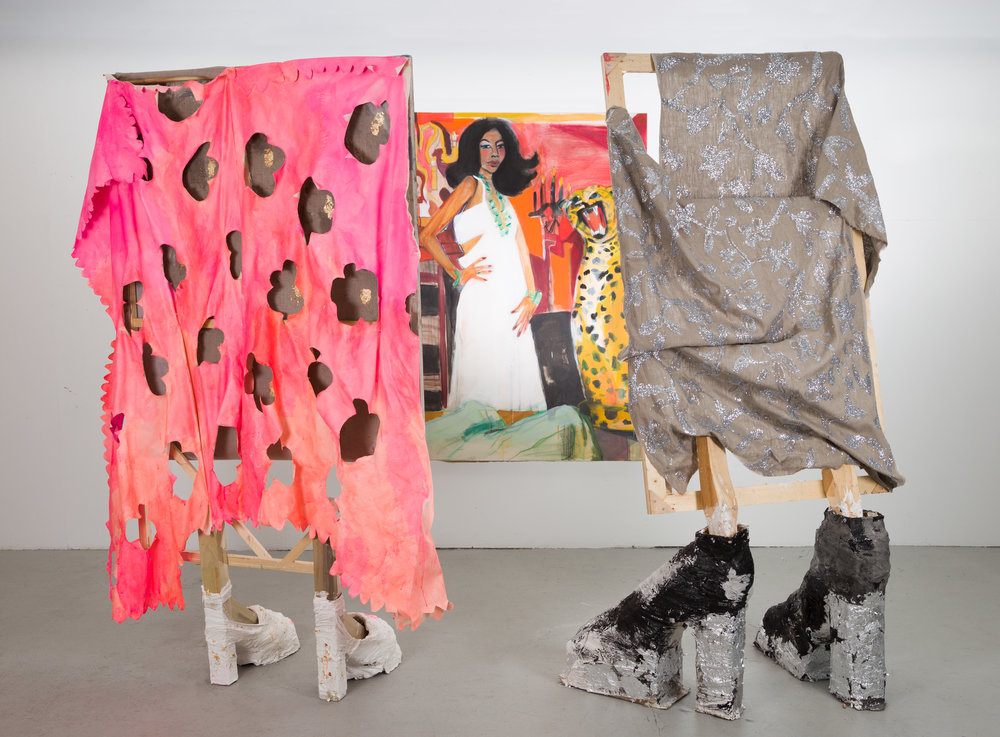 Lookyloos looking at Diana circa 1979,  wood, plaster, canvas, and mixed media, approx. 82 in. x 32 in. x 30 in., 2017