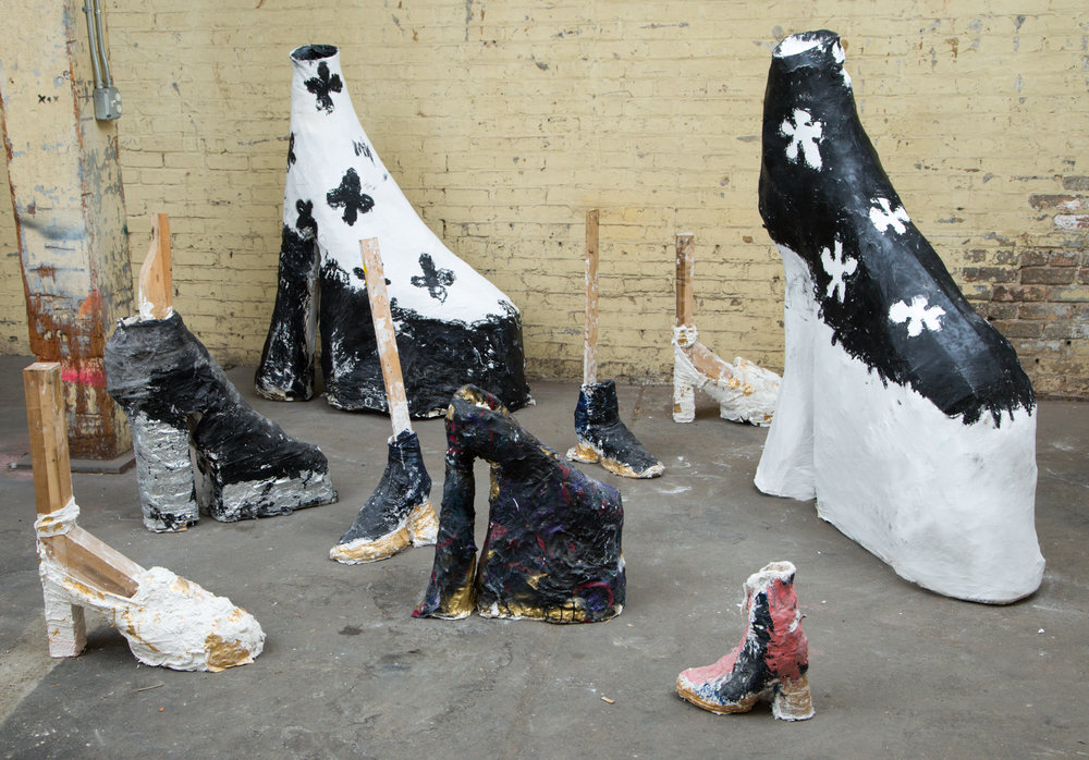 Platforms , plaster, paper mache, acrylic, wood, & mixed media, various sizes, 2016-17