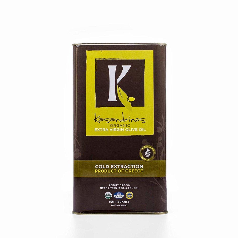 Kasandrinos Organic HUGE 3 LITER Extra Virgin Greek Olive Oil -
