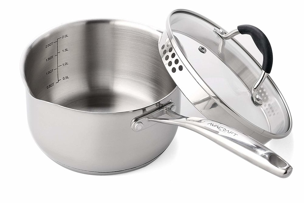 AVACRAFT Stainless Steel Saucepan with Glass Lid, (2.5 Quart) -
