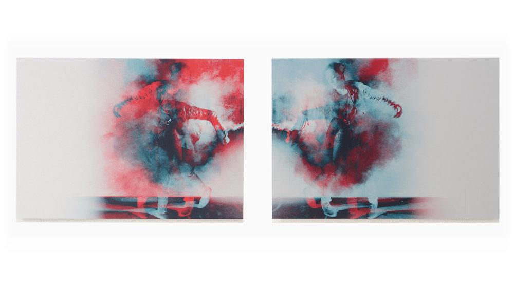 Split Decisions   2012, pigment on aluminium, 30cm x 84cm