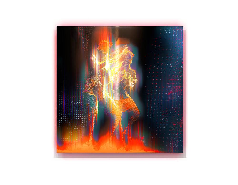 Spirit Man Dance  2017, pigment and enamel on aluminium, 120cm x 120cm