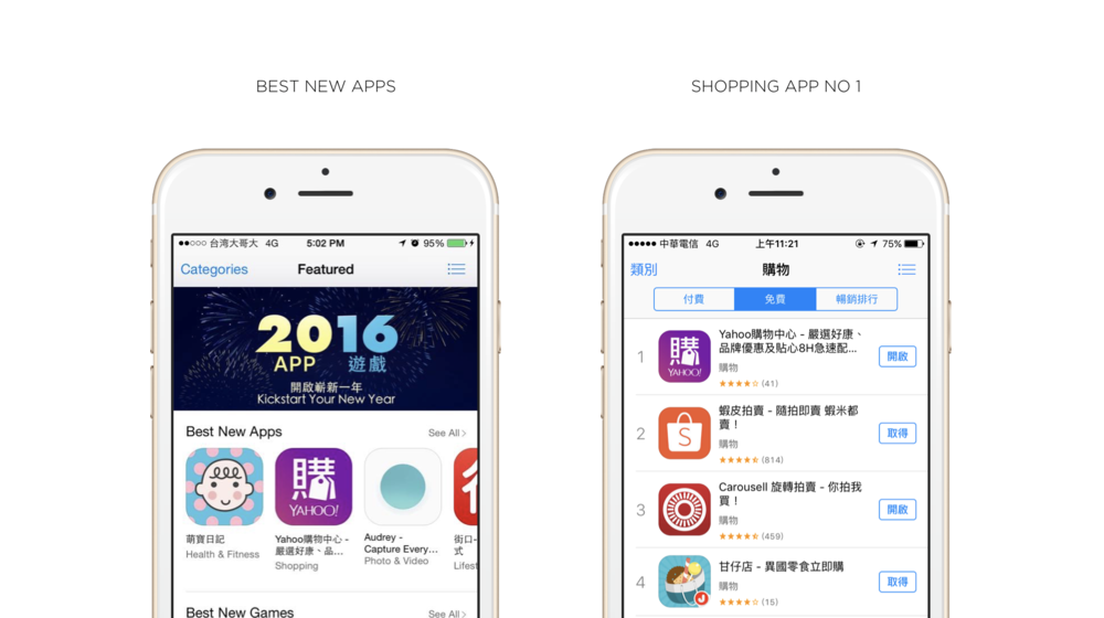 Shopping iOS/Android is an E-commerce platform and was selected by the Apple store as the best new app and number one shopping app in 2016.