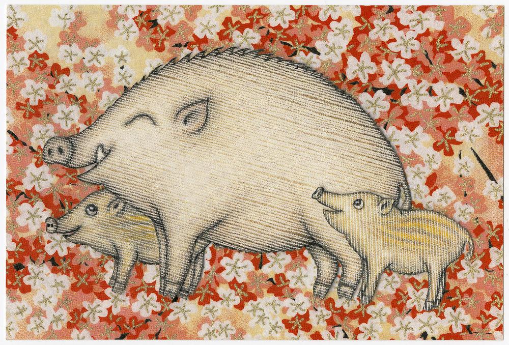 2006 Chinese Wild Pig Year Postcard. Tokyo, Japan