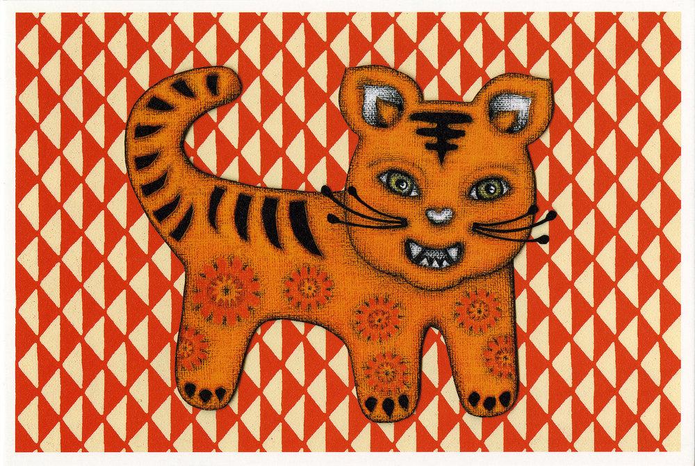 2010 Chinese Tiger Year Postcard . Tokyo, Japan