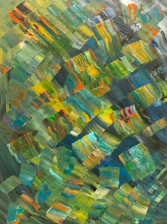"Nicole Jenny, Solid Rain, 2018, acrylic on canvas, 18"" x 24"""